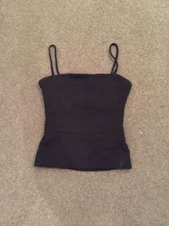 Black top with back slit (didn't show bra band!), from kookai, size 1 could fit size 2-6 (nice quality stretchy material)