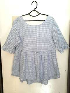 Checkered Bell Sleeves Top