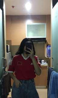 Red adidas jersey
