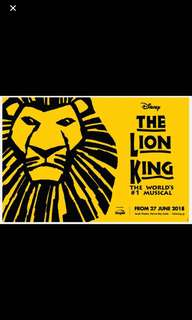 Lion King tickets 6 pm on  15 July 18