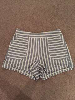 Striped high waisted shorts from mirrou size 8