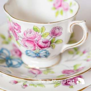 Rare vintage Royal Albert Flower of the Month tea trio, blue ribbon bows and pink roses