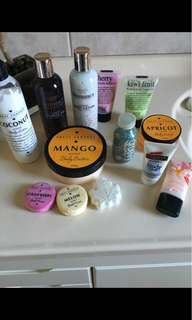 Bath bombs and body lotions