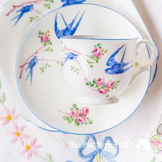 Charming hand-painted vintage English bone china tea, bluebird / blue bird of happiness