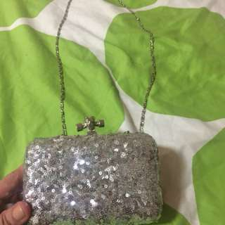 Silver clutch/chain sling bag