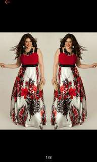 Plus Size Women Printed Evening Party Prom Gown Formal Dress