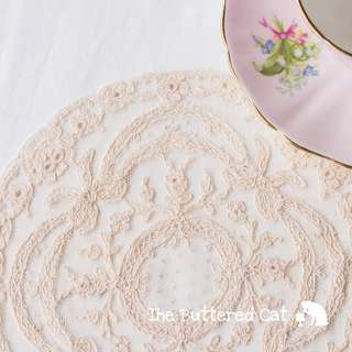 RESERVED Antique lace doily, flowers and bows