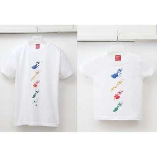 🚚 親子裝短袖T恤 沖繩品牌【Habu Box】可愛的創意顏料 媽媽+小孩創意T-shirt/Tee/現貨/日本/正品/白色/全新