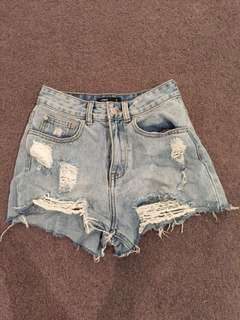 High waisted denim 80's look shorts , from glassons, distressed look