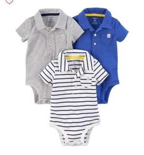 *6M/12M* Brand New Carter's Polo Bodysuits For Baby Boy