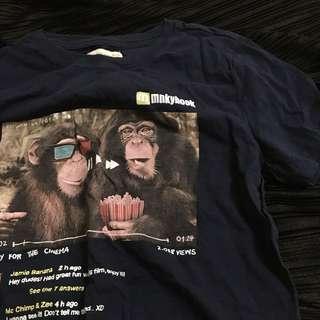 🚚 ZARA 深藍色 猴子🐒或猩猩🦍 幽默上衣 T恤