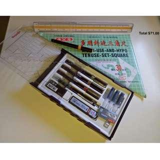 Pen Collage 3 set ROTRING + 0.2 Rotring pen + Trilar Scale ruler 30cm + Set Square 30cm