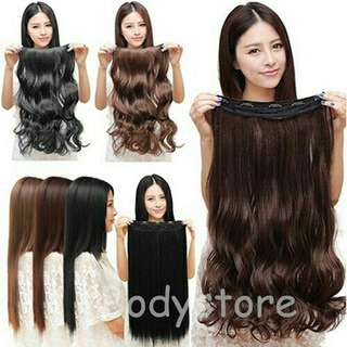 Fashion 3/4 Full head Clip In Hair Extensions Straight Curly 5 Clips Long wig