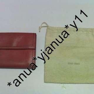 (二手品) MIU MIU Wallet桃紅色 銀包 連塵袋 歐洲款 罕 不會撞款