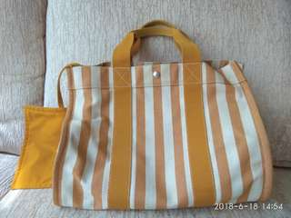 法國製Hermes 愛馬仕 canvas bag 帆布袋 made in France