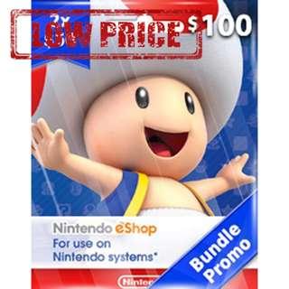 ●LOW PRICE● $100USD Nintendo eShop Switch 3DS Wii U Code