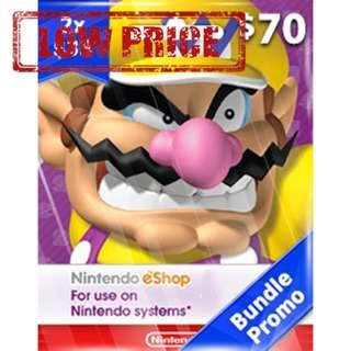 ●LOW PRICE● $70USD Nintendo eShop Switch 3DS Wii U Code