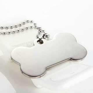 不鏽鋼狗牌鈦鋼空白寵物身份牌刻字光面金屬吊墜