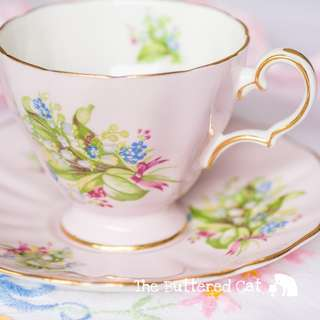 Lovely pink vintage English china cup and saucer, lily of the valley bouquet, cute pink bow