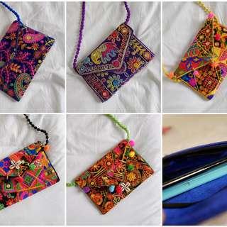 Bohemian style handmade colourful embroidery sling handbag