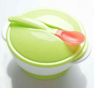 Anti slip feeding bowl for baby with heat indicator/color changing spoon