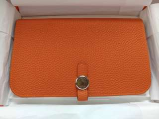 Hermes Dogon Orange Wallet Stamp Q
