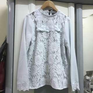 全新 正韓 韓製 韓貨 蕾絲 透膚 上衣 宮廷風 上衣 氣質