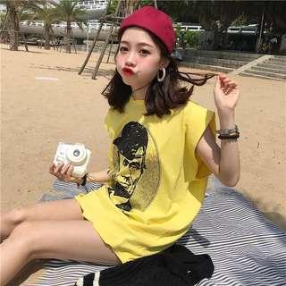 Minimei追加款✪韓系韓版歐美風百搭休閒夏季做破領邊潮版打底上衣人頭印花寬鬆無袖背心T恤