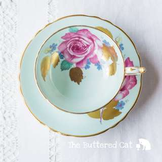 Stunning vintage Paragon cabinet cup and saucer, pale green, large pink rose, gold leaves