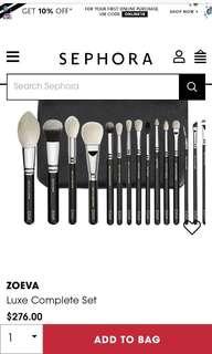 100% AUTHENTIC ZOEVA 15pc makeup brushes RRP $276NZD