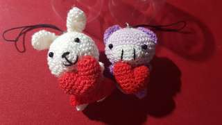 BN Couple Keychain Heart Rabbit Pig