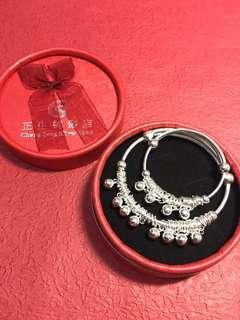正生純銀 可愛 親子手鐲 Mother-child silver bracelet set