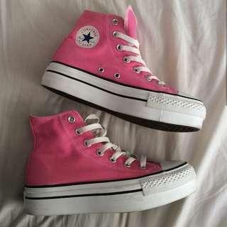 Pink Platform Converse High Tops