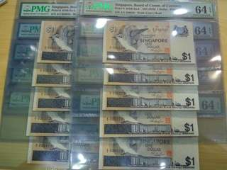 Singapore Bird $1 Dollar 1st prefix 10run A/1 036011-20 PMG 64 EPQ Choice UNC