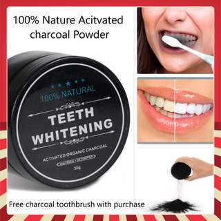 🚚 Teeth Whitening Powder / Tooth Cleaning Powder/Activated Charcoal Powder w Free charchoal toothbrush