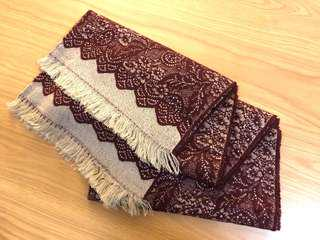 Lace style wool burgundy shawl scarf