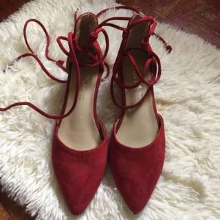Red block heels with lace (size 7)