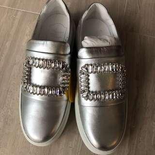 Roger vivier silver leather sneaky viv sneakers