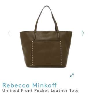 Rebecca Minkoff Unlined Front Pocket Leather Tote Bag
