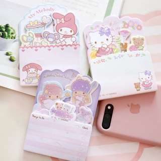 Instocks Sanrio My Melody Hello Kitty Little Twin Stars Post it notes