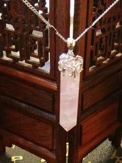 天然粉晶柱(鑲925銀扣)