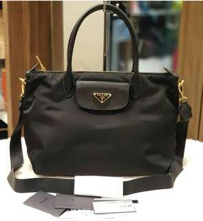 Brand New Prada 1BA106 Tessuto+Saffian Nero ❤BIG SALE P39,800 ONLY❤ With dustbag cards & long strap Swipe for detailed pics  Cash/card/layaway accepted