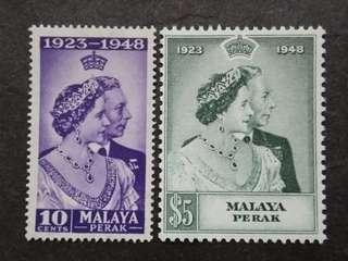 Malaysia Malaya 1948 Perak Silver Wedding Complete Set - 2v MNH Stamps