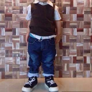 polo with H&M vest + blue 3t Maong Pant