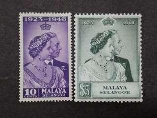 Malaysia Malaya 1948 Selangor Silver Wedding Complete Set - 2v MNH Stamps