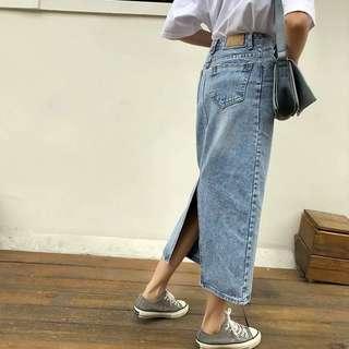 🚚 韓版復古牛仔長裙