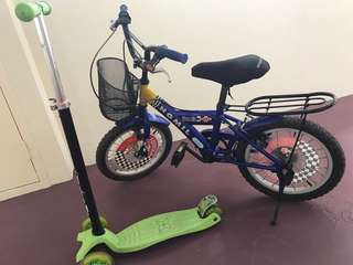 Bicycle and kids scooter