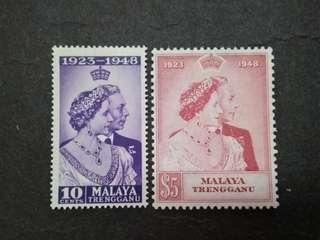 Malaysia Malaya 1948 Trengganu Silver Wedding Complete Set - 2v MNH Stamps