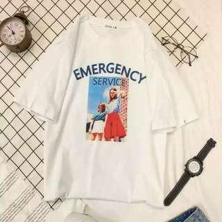 夏日爆款英文字歐美潮流女學生百搭顯瘦簡約t恤-EMERGENCY款