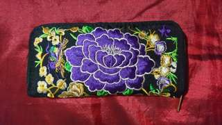 Purple Peony Flower Embroidered Purse